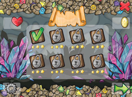 Illustration and examples of screens, buttons, bars progression for computer games and web design