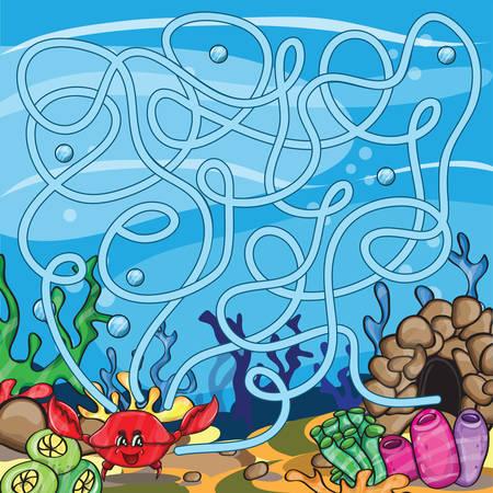 laberinto: Vector rompecabezas para los ni�os - la vida marina