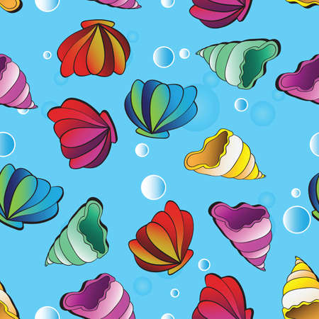 cochlea: vector seamless background with colorful sea shells Illustration