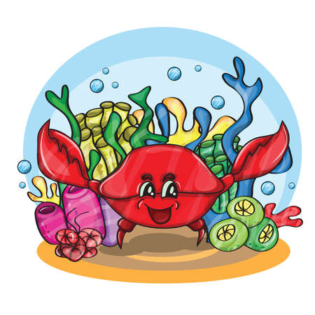 happy crab in ocean - cartoon vector illustration Vector