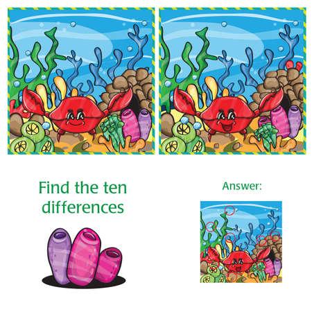 Visueel spel vinden 10 verschillen met antwoord Stockfoto - 36104774