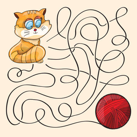knotted rope: Kitten And Wool Ball  - Maze Game - vector
