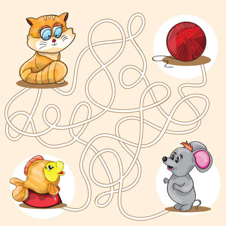Cartoon Vector Illustration of Education Maze or Labyrinth Game for Preschool Children  イラスト・ベクター素材