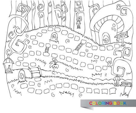 kindergartner: Vector illustration of board game for children - coloring book Illustration