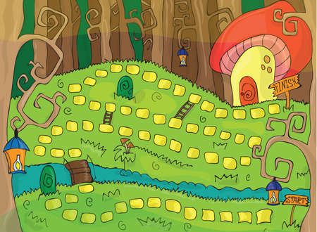 Nice and color board game for kids - magic forest