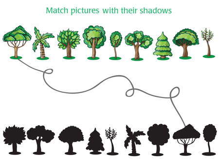 Trees and Silhoutte of trees on a white background - game for children