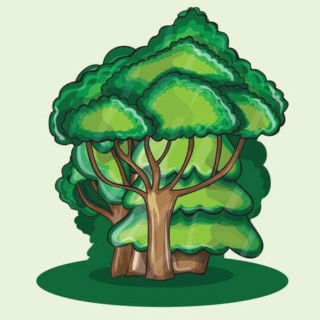 children s art: Wood against a cloud  - cartoon vector illustration Illustration