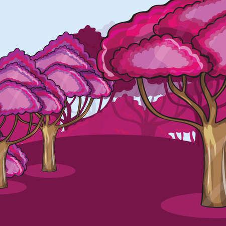Pink Wood against a cloud  - cartoon vector illustration Vector