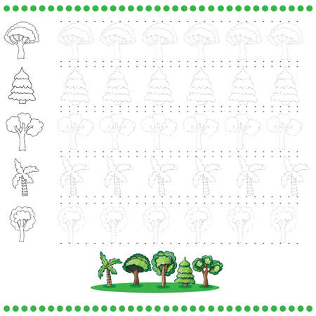 Connect the dots number of images - exercise for kids - trees Vector
