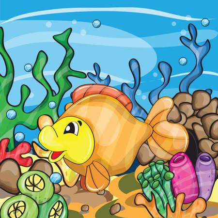 pez dorado: Ilustración de un personaje de dibujos animados feliz goldfish