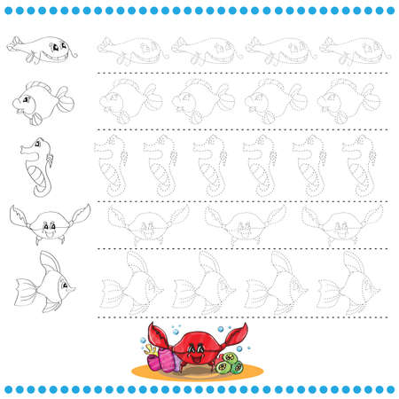 Connect the dots number of images - exercise for kids - marine life