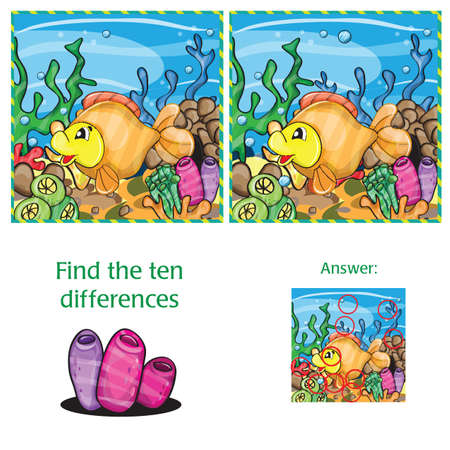 Marine life - Find ten differences - game for children