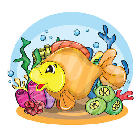 3d kids: Illustration of a happy goldfish cartoon character