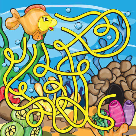 Maze game for kids - Help the little fish to get home 向量圖像