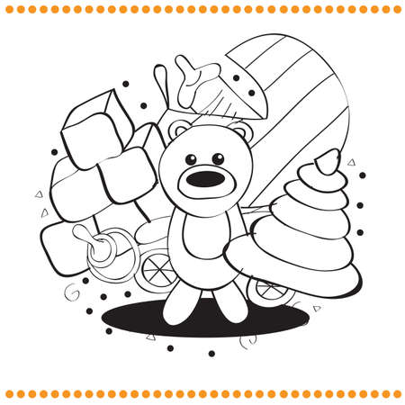 Coloring book - hand drawn toys - vector illustration Vector