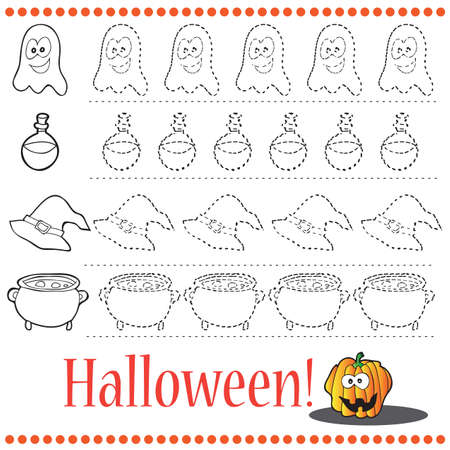 Connect the dots number of images - exercise for kids Dot-to-dot - Halloween