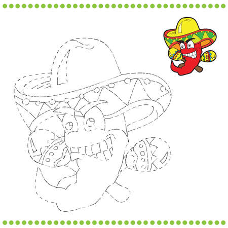 Connect the dots and coloring page - Mexican pepper Vector