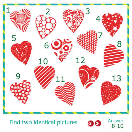 identical: Find two identical pictures of vector hearts