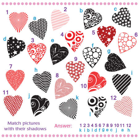 Find the shadows of pictures of vector hearts