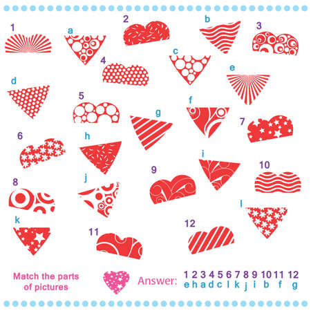 Match the parts of pictures of vector hearts