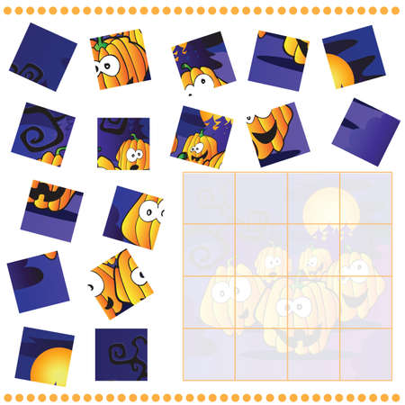 Jigsaw Puzzle game for Children with pumpkins