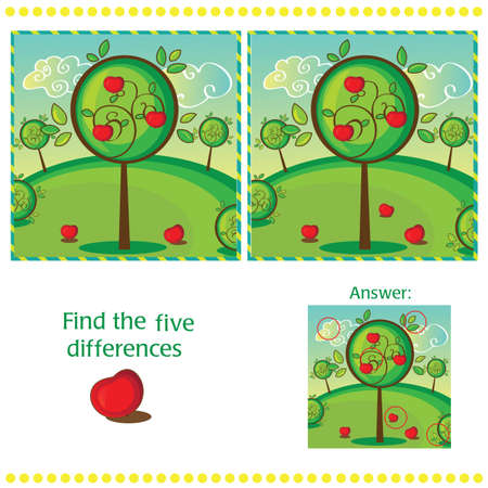 spot the difference: Find differences between the two images with apple tree