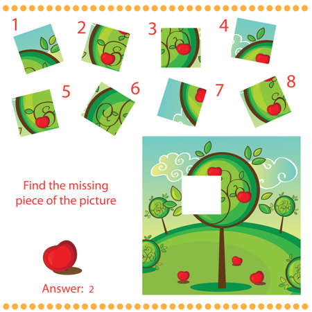Find missing piece - Puzzle game for Children with apple tree Vector