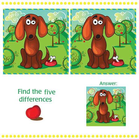 Zoek de verschillen tussen de twee beelden met grappige hond Stockfoto - 36614992