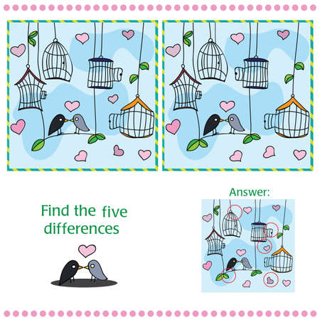 fall in love: Find differences between the two images with bird