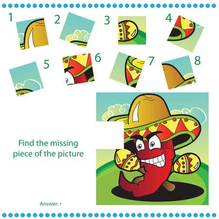caricatura mexicana: Encuentra pieza que falta - Juego de puzzles para ni�os con pimienta divertido