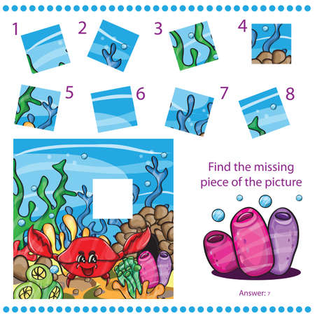 Find missing piece - Puzzle game for Children - with funny crab Illustration