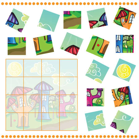 Jigsaw Puzzle game for Children - cartoon town Vector