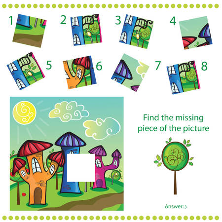 Find missing piece - Puzzle game for Children - cartoon town Vector