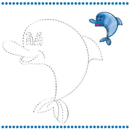 rata caricatura: Une los puntos y p�gina para colorear con delfines divertido