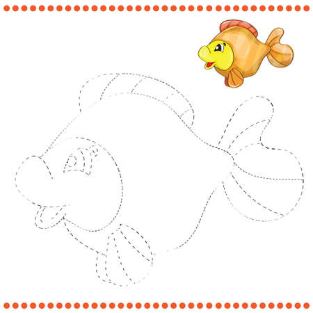 Connect the dots and coloring page with funny fish