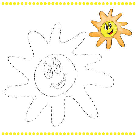 conundrum: Connect the dots and coloring page with sun