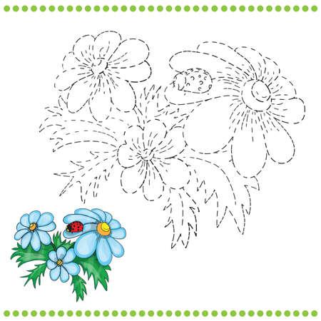 Collegare la pagina punti e colorare con erba e fiori Archivio Fotografico - 36895385