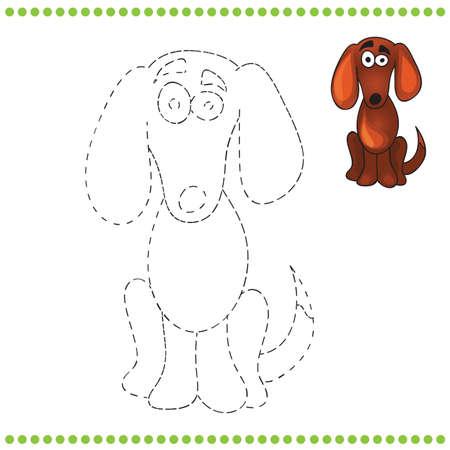pelota caricatura: Une los puntos y p�gina para colorear con perro