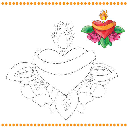 secret love: Connect the dots and coloring page with heart
