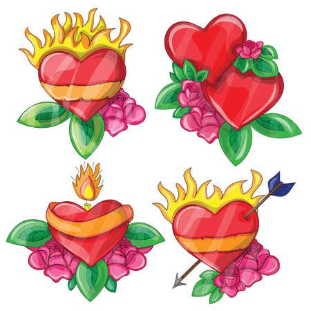 Cartoon hearts with fire for design - vector set Vector