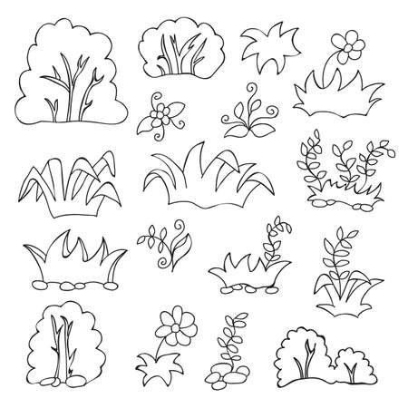 Coloring book for kids - Grass and flowers cartoon set