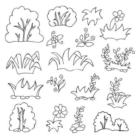 Kleurboek voor kinderen - Gras en bloemen cartoon set Stockfoto - 36956517