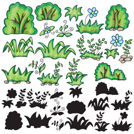 silhouttes: Grass and flowers cartoon and silhouttes on a white background Illustration