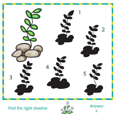 Find the shadow of picture - green grass Illustration