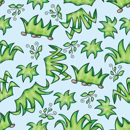 doodling: Vector seamless pattern with grass - doodling design Illustration