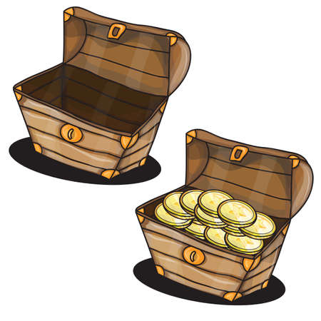 Cartoon two chests with coins isolated vector
