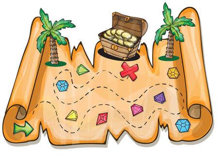 treasure map: Juego para los niños - tesoro pirata ilustración vectorial pecho