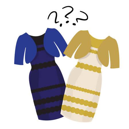 Populaire puzzel wat kleur van de jurk wit en goud of zwart en blauw Stock Illustratie
