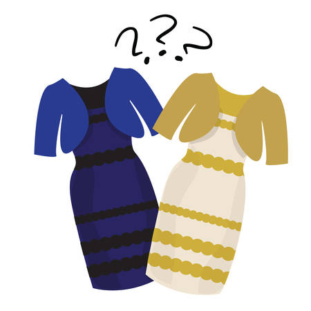 Popular puzzle what color of dress white and gold or black and blue 向量圖像
