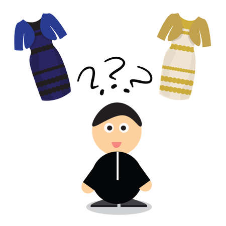 posted: Man to solve the puzzle of colored dress white and gold or black and blue Illustration
